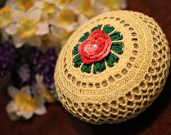 Yellowand red flower Crochet River Rock