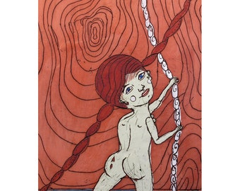 A Limited Edition Giclee - Girl on a Rope - Art Print