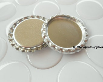 "200  pcs. FLAT SILVER  Linerless Bottle Caps and 200 pcs. 1"" Epoxy Resin Bottle Cap Seal Sticker Kit."