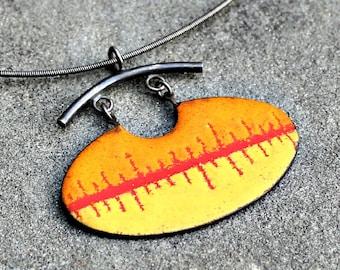 Enamel Pendant - Enamel Sgraffito Necklace - Enamel Silver Necklace - Red Orange Enamel Necklace - Sterling Silver Enamel Neckace - Abstract