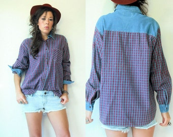 SALE...90s Denim Button Down Shirt Vintage Red Plaid Blouse / Oversize Grunge Denim Shirt