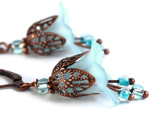 Baby blue lily flower and antique copper leverback earrings (432) - Flat rate shipping
