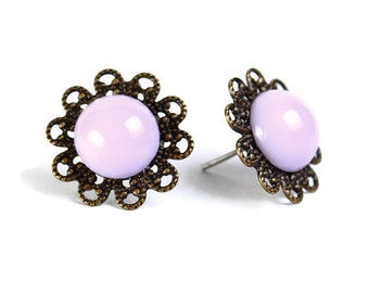 Vintage lilac purple hypoallergenic surgical steel post earrings READY to ship (463) - Flat rate shipping