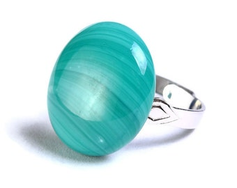 Teal green turquoise glass adjustable silver ring OOAK (676) - Flat rate shipping