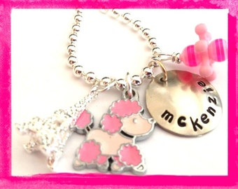Poodle Necklace - Personalized Pink Poodle Paris Necklace for Girls #f142