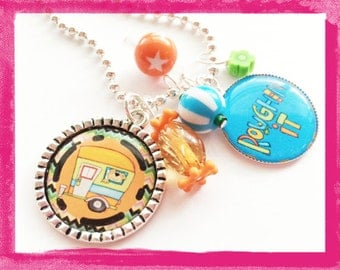 CAMP OUT - Personalized Girls Bezel Necklace - Camper Jewelry - Travel Trailer Charm