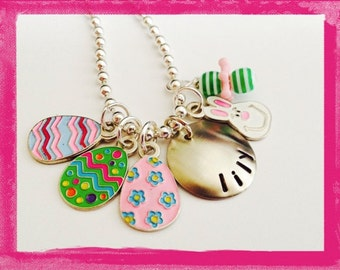 Easter Necklace - Hand Stamped and Personalized EGGS Necklace for Children #ea106