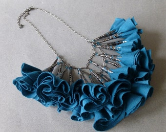 Teal and Gunmetal Fabric Rosette Statement Necklace