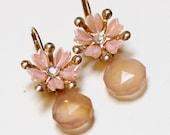 Unique Blush Earrings - Vintage Pink Flowers, Pink Chalcedony Gemstones, 14k Gold - Repurposed Vintage Wedding Jewlery