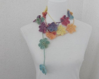 Crochet Lariat,  Scarf, Flower Laria,t Scarf Long Necklace Holiday Accessories,Colorful, Orange, Gray, Charcoal, Harvest, Spring, Summer,