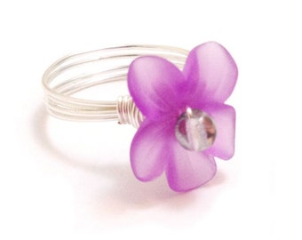 Violet Purple Orchid Flower Wire-Wrapped Ring with Glass Pearl Center - Custom Colors and Sizing