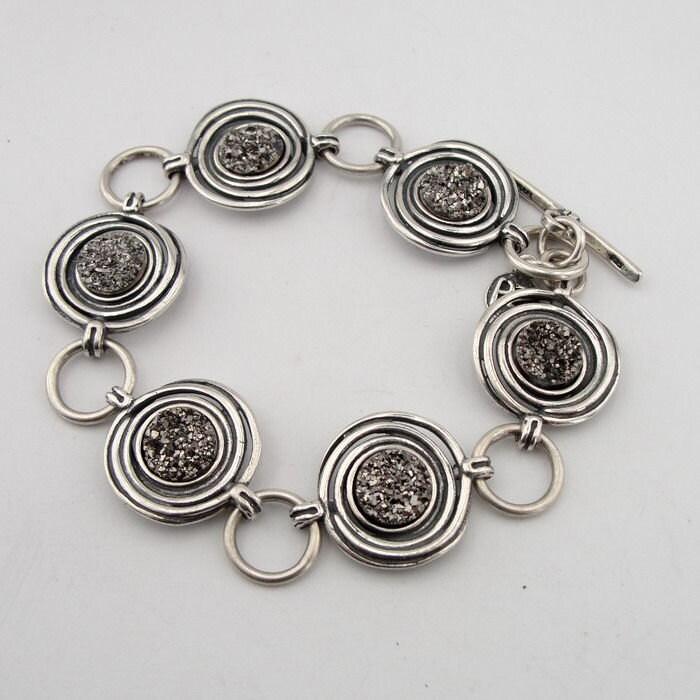 Israel design agate druzy 925 sterling silver btacelet jewelry