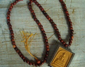 Buddha Pendant, Buddhist Incantations Necklace, Mustard / Ochre, Fired Clay Amulet, Silver Tone Case, 108 Wooden Mala Beads, Free Shipping