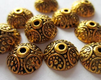 30 Gold Bead caps antiqued metal 10mm x 4mm  DIY jewelry supplies GLF531