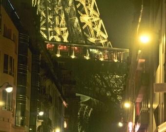 Eiffel Tower Decor, Paris Street Scene Photograph France Night Photography Dreamy Urban Print Wall Art Fog par74