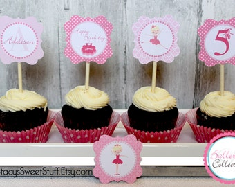 Ballerina Cupcake Toppers, DIY, Printable, Tiny Dancer Birthday Collection