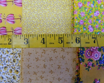6 Yellow or Gold Print Cotton Fat Quarters (680E)