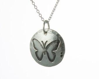 Tiny Silver Butterfly Necklace
