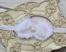 White Headband Pearl Rhinestone - Photo Prop - Newborn Infant Baby Toddler Girls Wedding-Jamie Powell Designs-