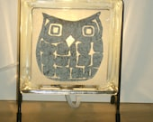 Owl lamp upcycled handmade upcycled glass block night light Halloween bird decor retirement gift FREE SHIPPING kitchen lamp  fall decor