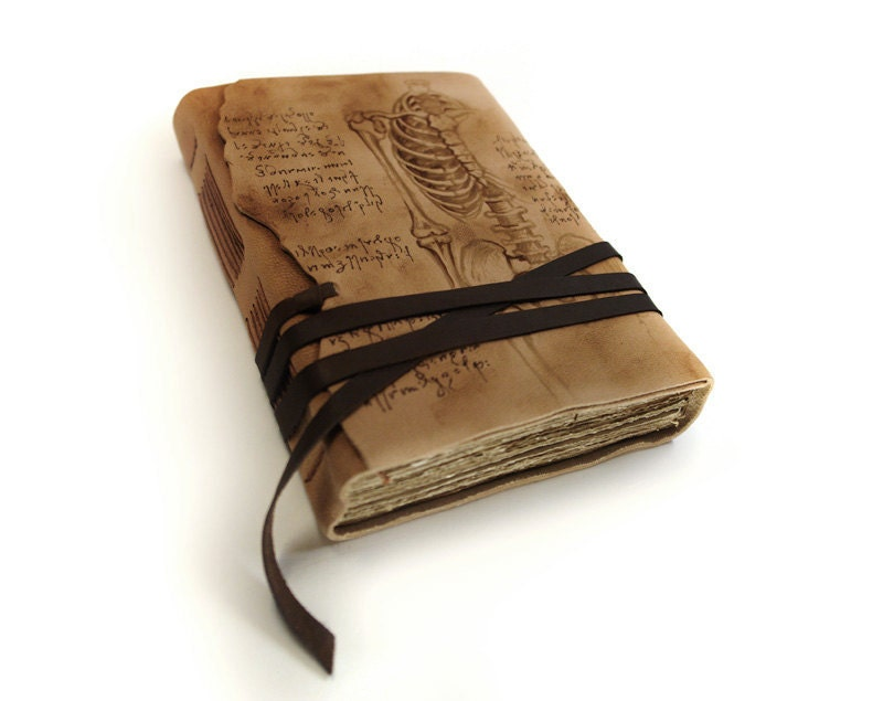 Leather Journal Hand Painted Vintage Style Old By