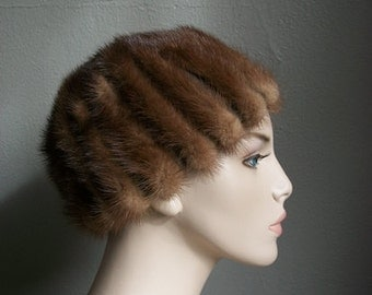 50s gorgeous brown MINK hat cap size 21