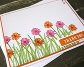 Pink and Orange Flowers in Tall Green Grass Thank You Card - Handmade Greeting Card