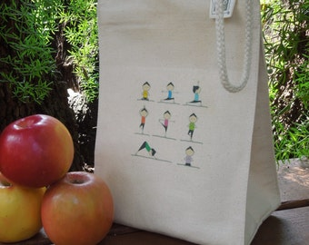 Recycled cotton lunch bag -  Canvas lunch bag - Small project bag - Yoga