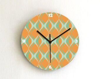 Orange Turquoise retro geometric Modern Kitchen living room handmade graphic design wall clock