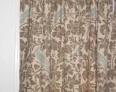 Pair of designer drapes, curtain panels, barber Kelp taupe eaton blue linen