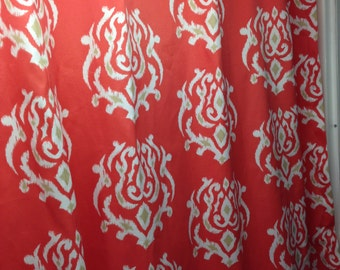 "Fabric shower curtain, Tempo Pamilla ikat CORAL 72""  , 84"" , 90"" , 108"""