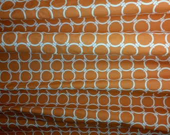 RTS Pair (two 50W x 90L panels) unlined, rod pocket designer curtains drapes, linked circles apache orange and natural
