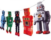 Vintage Tin Robots Garland - photo reproductions on felt