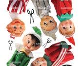 Digital Download Vintage Christmas Elves, vintage Knee-Hugger Elf Garland, kitch Christmas, vintage elves