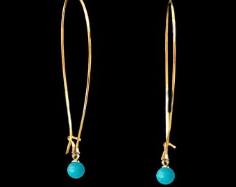 Gold earrings with Turquoise, Minimal earrings, Long Earrings, Turquoise earrings, Dangly earrings, Modern jewelry