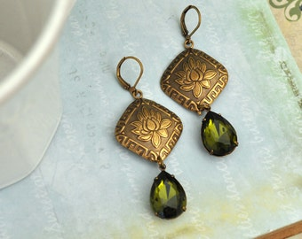 TRUE ZEN antiqued brass lotus flower and vintage olive green glass crystal pear shaped jewels