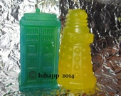 Tardis and Dalek, Dr Who Soaps, Gifts, Party Favors, Geek Friendly, Glycerin,  Detergent Free