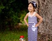 Toddler Anchor Dress, Toddler Sailor Dress, Toddler Sailor Outfit, Navy Chevron Dress, Toddler Chevron Dress, Girls Chevron Dress