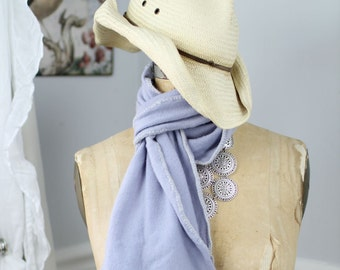 Lush, hand-crocheted scarves made from repurposed cashmere sweaters (in pale lavender)