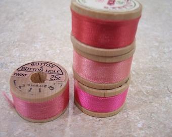 Pure silk twist thread #pink