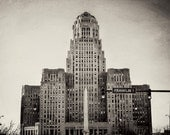 Art Deco, Architecture, Buffalo City Hall Black and white, Square print, urban, western NY, Erie county cities