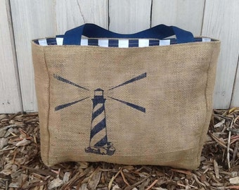 Eco-Friendly Nautical Lighthouse Market Tote Bag, Handmade from a Recycled Coffee Sack