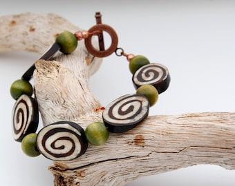 Brown and Green Handmade bracelet Brown jewelry green jewelry