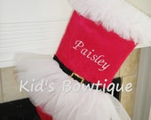 Christmas Stocking- Mrs.Claus White Tutu Personalized Christmas Stockings - Red Holiday Stockings