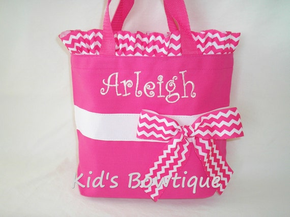 Personalized Bridesmaid Totes with Chevron Ruffles- Monogrammed Toddler Flower Girl Totes