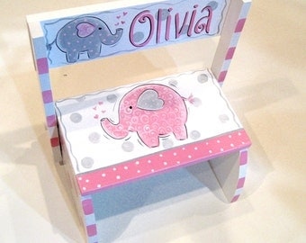 Pink and Gray Handpainted Elephant Flip Step Stool
