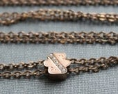 Long Victorian Ladies Watch Chain Necklace with Seed Pearl Slide