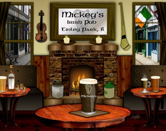 Irish Pub, personalized bar art, Slainte, Irish bar art, Irish wedding gift, Irish man cave, Irish birthday, Irish anniversary,pint of stout