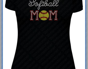 Rhinestone Softball Mom Shirt for Women