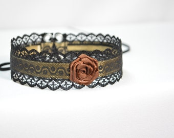 Elegant Textile Choker in Black and Brown, Gothic and Renaissance Lace Satin Necklace with Rose, Baroque